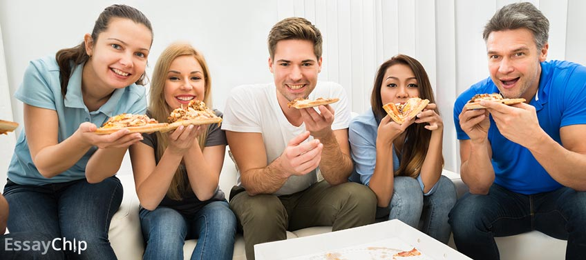 People Eating Pizza on Birthday